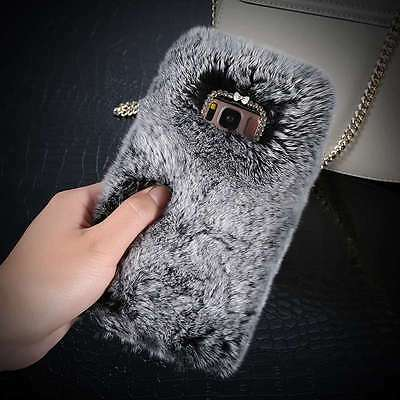 Luxury Crystal Bling Case Winter Warm Soft Fluffy Rabbit Fur Cover For Samsung