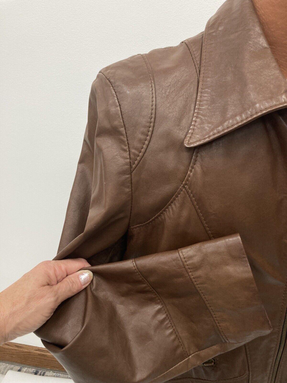 Genuine Vintage 1970s Brown Leather Blazer Jacket… - image 8