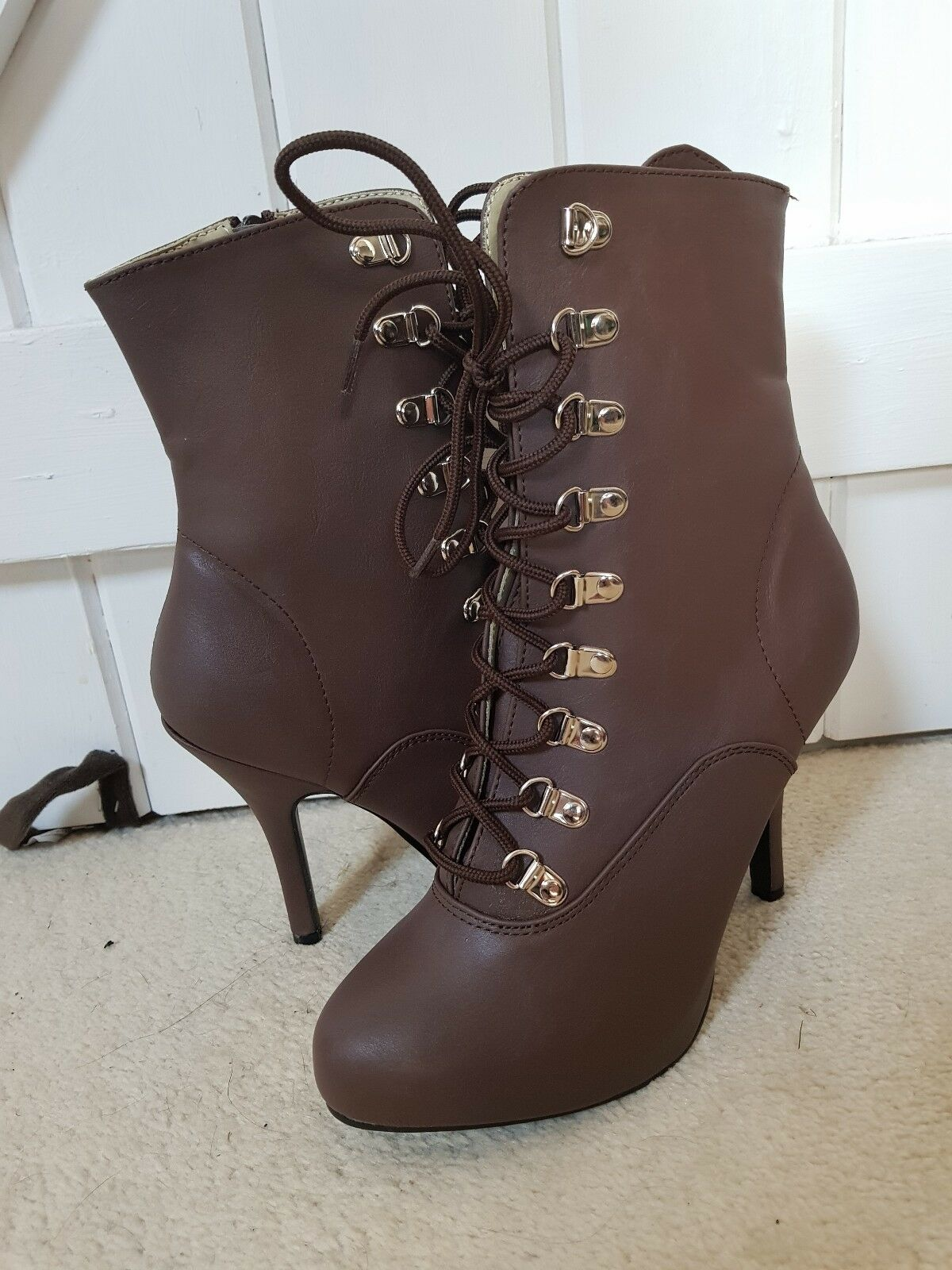 Zapatos especiales con descuento NEW pleaser brown steampunk victorian ankle boots heels 6 goth cosplay