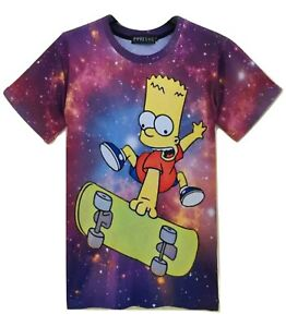 Bart-in-Space-The-Simpsons-T-Shirt-All-Over-Imprime-Drole-Cartoon-Print-Top