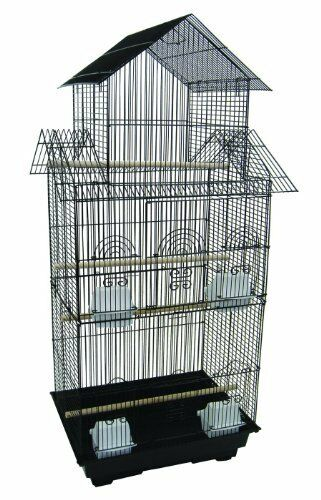 6844 3 8  Bar Spacing Tall Pagoda Top Small Bird Cage  - 18 x14  In nero