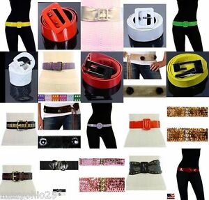 Wholesale-lot-30-pcs-Mixed-Women-Belts-Fashion-Buckle-Black-Colorful-Leather
