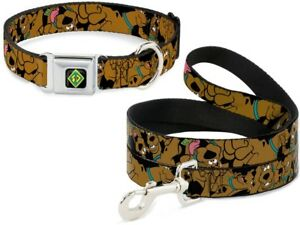 Buckle-Down-Seatbelt-Dog-Collar-or-Leash-Scooby-Doo-Brown-S-M-L-Made-in-USA