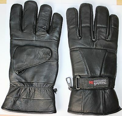 Black Soft Leather Winter Thinsulate Gloves