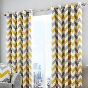 Fusion-CHEVRON-Yellow-Grey-amp-White-100-Cotton-Eyelet-Ring-Curtains-amp-Cushions