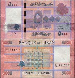 Liban 5000 Livres. NEUF ٢٠١٢ (2013) Billet de banque Cat# P.91a