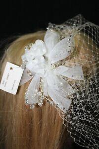 NEW LIGHT ivory bird cage bridal veil, rhinestone crystals wedding veil  $165.