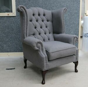 GEORGIAN-CHESTERFIELD-QUEEN-ANNE-BUTTONED-HIGH-BACK-WING-CHAIR-PEWTER-GREY