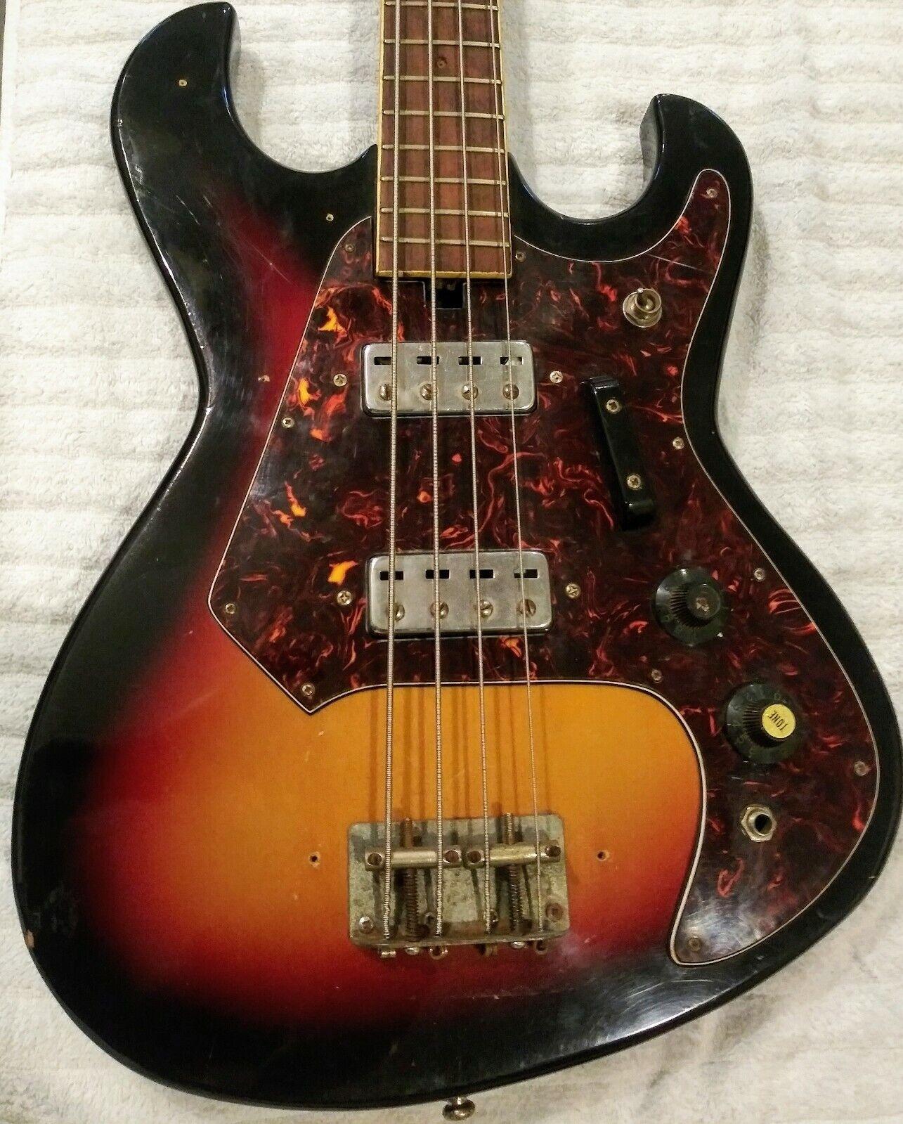 Vintage 60s Sekova 4 String Electric Bass Guitar w Gig Bag