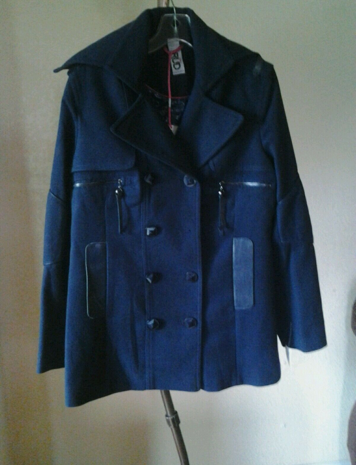 NEW RUD by RUDSAK WOMEN  DOUBLE BREASTED COAT LEATHER TRIM NAVY blueE SZ M   300