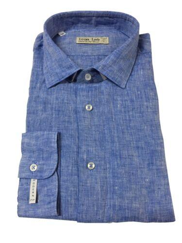 ICON LAB 1961 camicia uomo celeste manica lunga 100% lino vestibiità slim