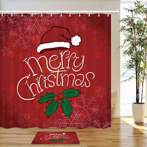 Red christmas hat Shower Curtain Bathroom Decor Fabric /& 12hooks 71x71in