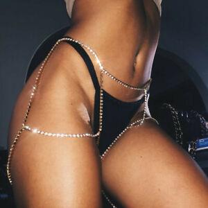 Rechercher Des Vols Fashion Femmes Sexy Strass Leg Cristal Corps Chaîne De Cuisse Ventre Taille Bijoux-afficher Le Titre D'origine