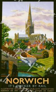 Vintage  LNER Norwich Railway Poster A3//A2//A1 Print