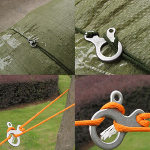 10pcs 3 Holes Camping Awning Cord Rope Tensioner Guy Line Runners Hook HangeRSDE
