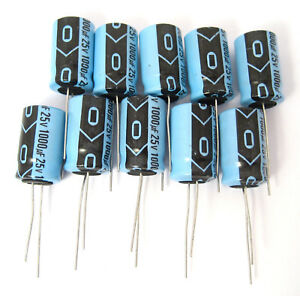 Xicon 1000uF 25V Radial Electrolytic Capacitors Great Price Small Size 10//Pack