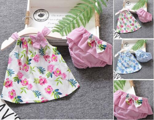 Baby Girls clothes casual summer vest Tops+short pants kids outfits floral print