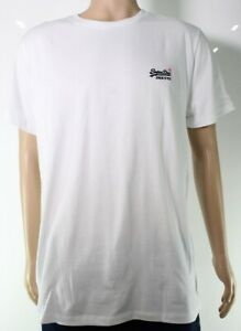 Superdry-Mens-T-Shirt-Classic-Bright-White-Size-2XL-Embroidered-Logo-21-363