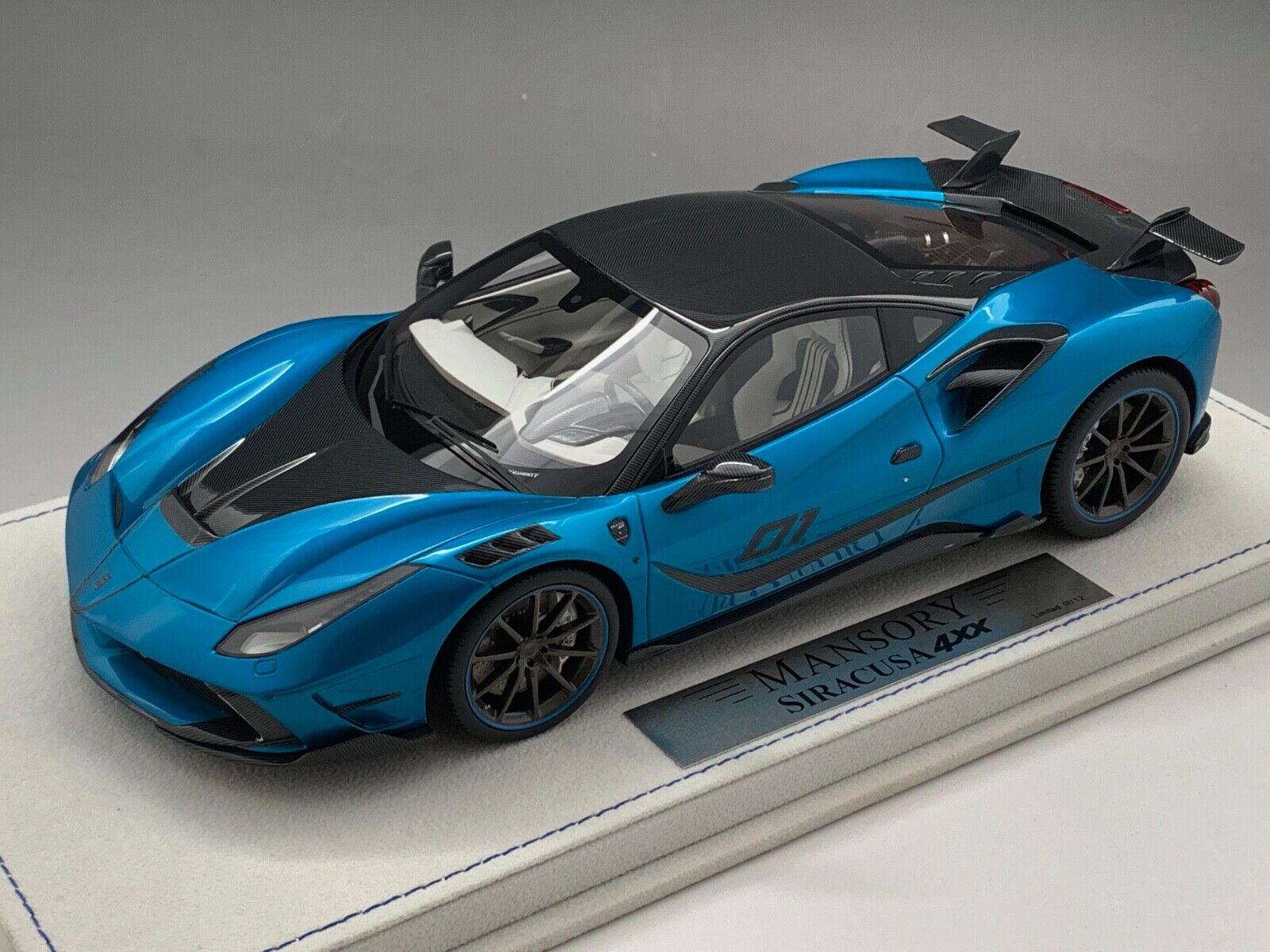1 18 Ferrari 488 mostrar Siracusa 4xx en Azul empero coche limitada a 12 piezas
