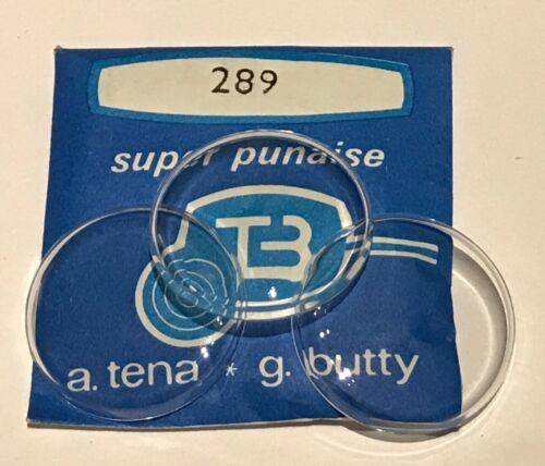 NEUF 1 VERRE GLASSE PLEXI POUR MONTRE SUPER PUNAISE TENA ET BUTTY @ 289 DIAMETRE