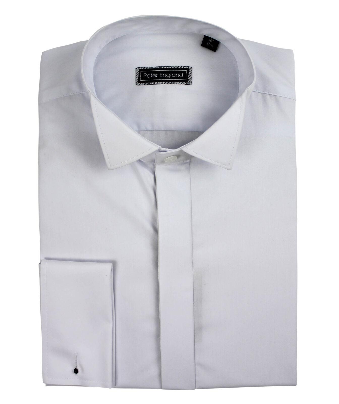 Peter England Tinta Unita FRONT Wing Colletto Camicia Abito Cotone