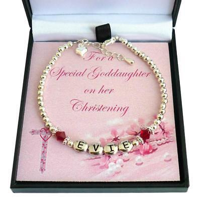 Jedes Mädchen Name Geschenk Box Personalisiert Geburtsstein Armband für Taufe