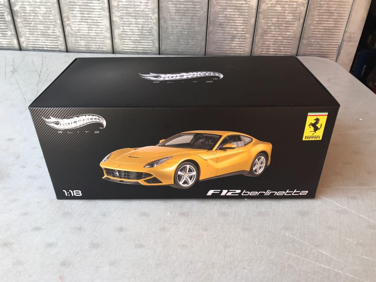 Hot Wheels Elite Ferrari F12 Berlinetta gialla 1 18