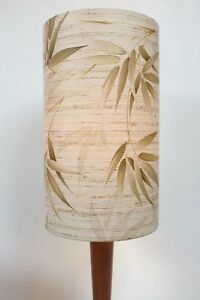 Original-70s-Paper-Lampshade-Retro-20cm-Drum-Geometric-Bamboo-Brown-Vintage
