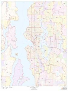Details about Seattle, Washington Zipcode Laminated Wall Map (MSH) on