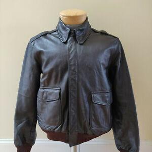 Vintage-LL-Bean-Leather-Jacket-Mens-42-Large-Bomber-Jacket-Dark-Brown-USA-Wool