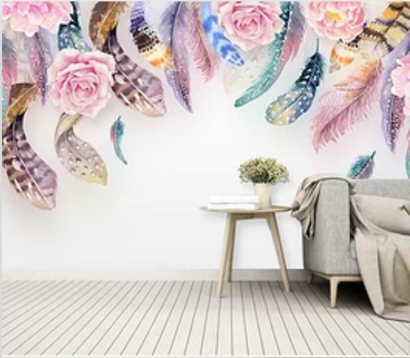 3D Feather Flowers I1927 Wallpaper Mural Sefl-adhesive Removable Sticker Wendy