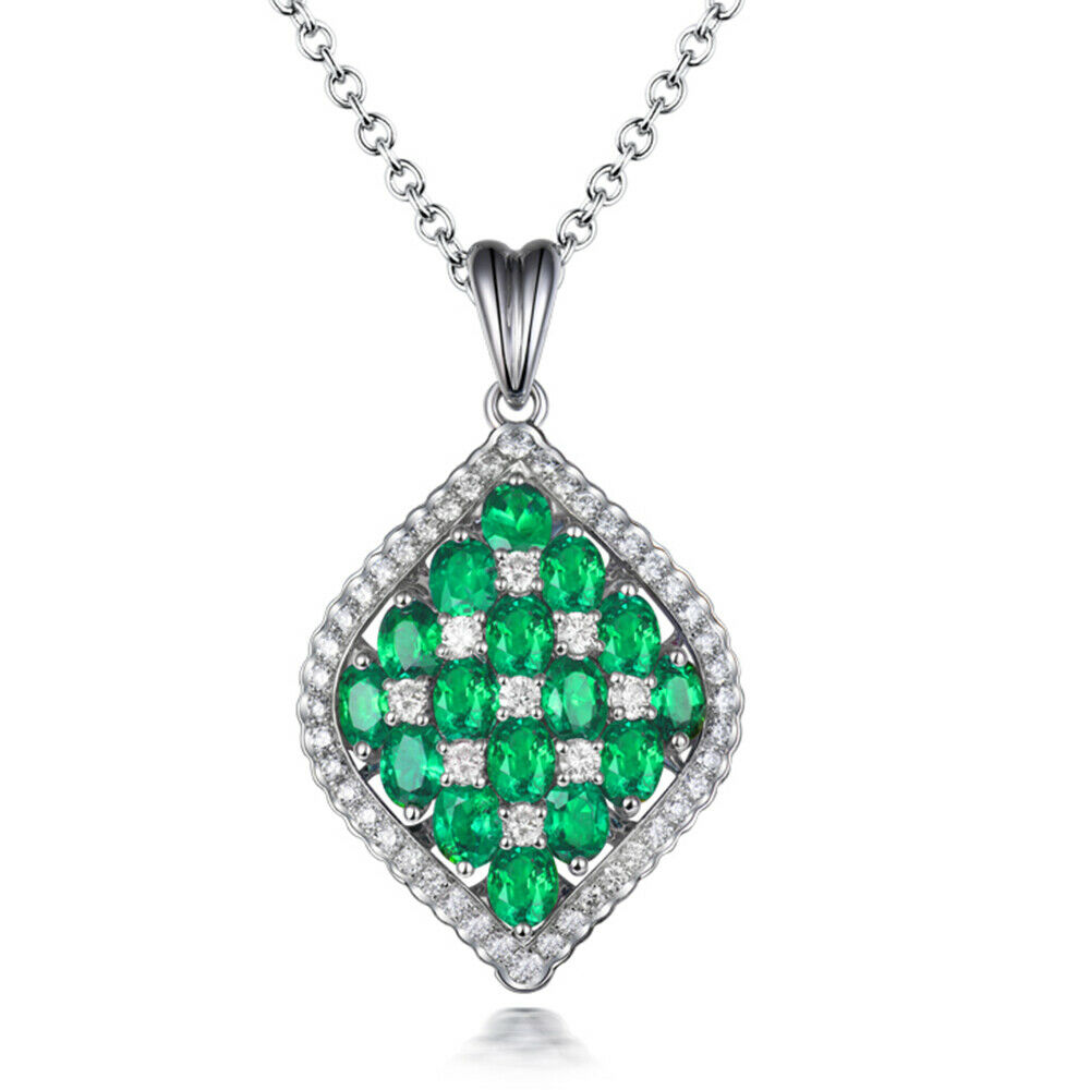 Luxury Jewelry Natural 100% Emerald 18kt White gold Diamonds Wedding Pendant