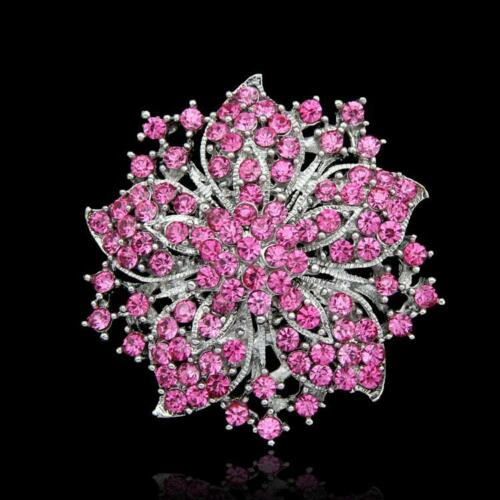 Vintage Style Rhinestones Flower Wedding Crystal Brooch Pin birthday Gift UK