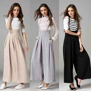 New Women Casual Pleated High Waisted Wide Leg Palazzo Pants ...