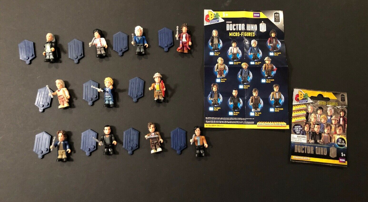 DOCTOR WHO  All 11 Doctors Micro Figure 50th Anniversary Set with bases.