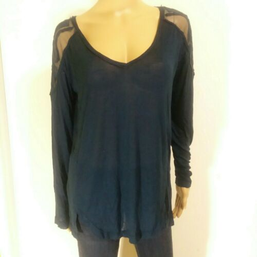 FREE PEOPLE Tunic Long M Lace Back Sheer Peasant T