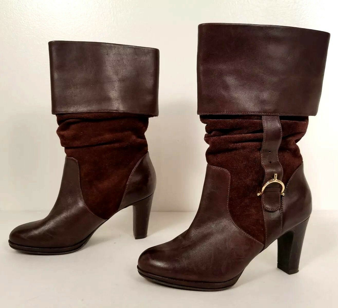 RALPH LAUREN Brown Leather & Suede Mid-Calf Cuff Boots Heels 5.5 M (SS17)