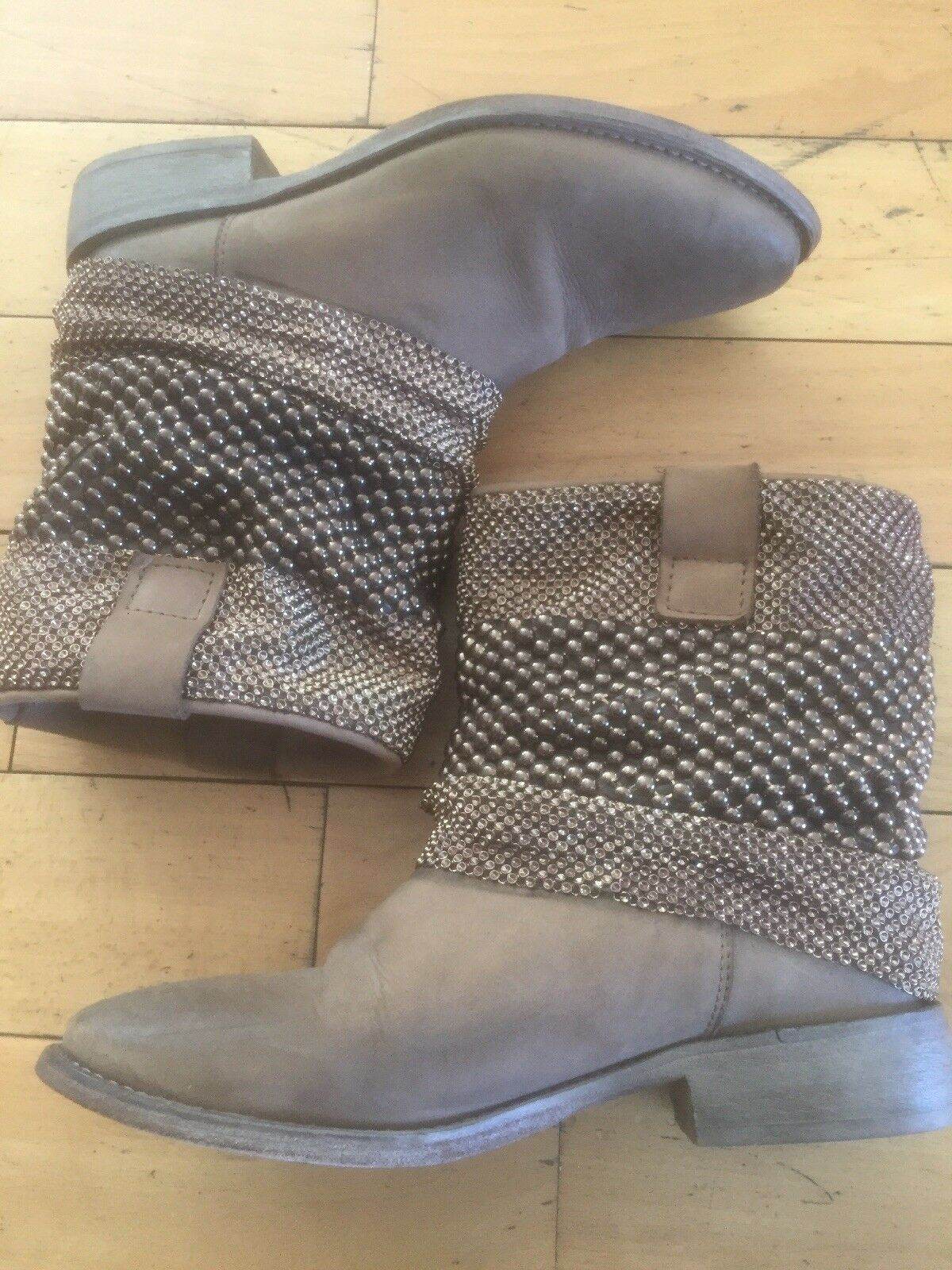 STRATEGIA Beige/Taupe Women's Booties Beads and Chains Size 5