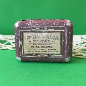 Vintage-Antique-Gyraldose-Metal-Tin-Medicine-Box-Female-Hygiene-Paris-France
