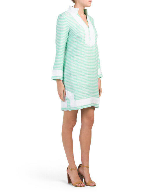 SAIL TO SABLE Linen Classic Long Sleeve TUNIC DRESS Mint Green Stripe ($198) STS