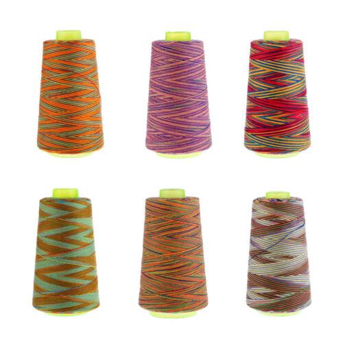 6pcs Rainbow 40S//2 Polyester Sewing Thread Sewing Machine Thread Overlocking