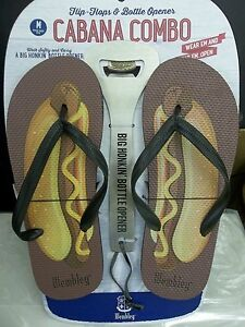 WEMBLEY - MENS - FLIP FLOPS & BOTTLE OPENER - SIZE 9-10      (AC-2-14)