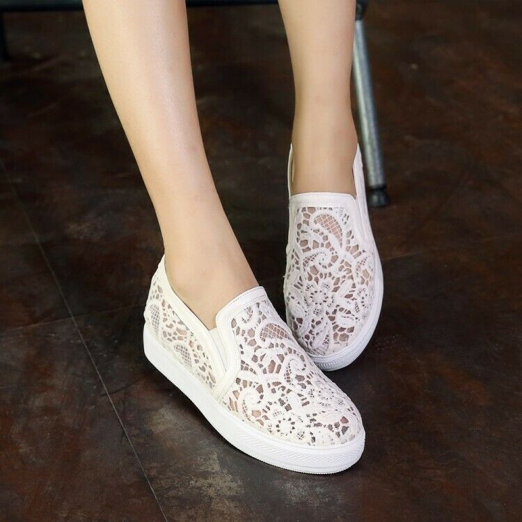 Spring Ladies Flat Oxfords Lace Mesh Breathable Loafers Slip on Casual shoes New