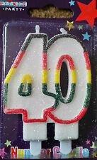 Age 40 Double Candle 40th Birthday Party Candle Multi Coloured Milestone Birthda