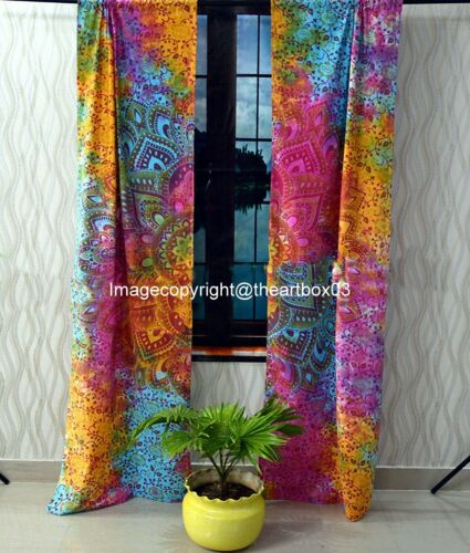 Window Door Drape Valance Indian Mandala Hippie Boho Curtains Tulle Sheers Voile