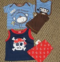 Boy's Fisher-price Five Piece Clothing Outfit Lot Size 0-3 M