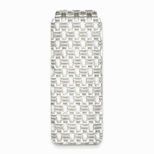 9 GRAMS SOLID STERLING SILVER TEXTURED WEAVE  DESIGN MONEY CLIP