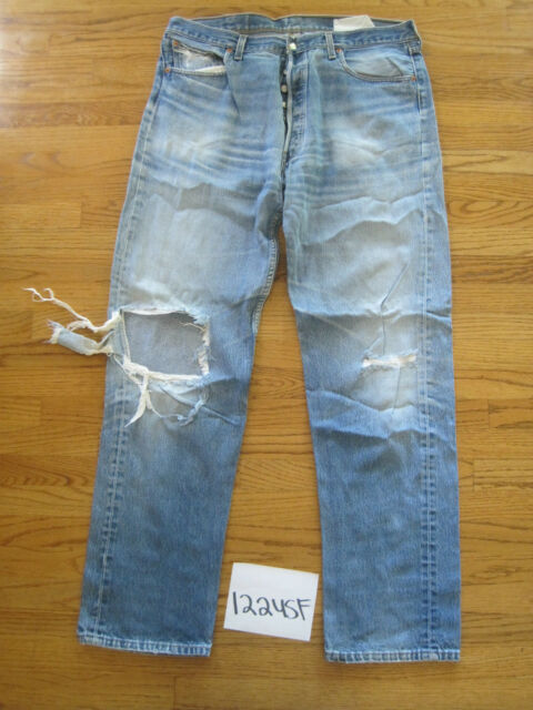 destroyed levi feather 501 usa grunge jean tag 40x38 meas 37x34.5 12245F