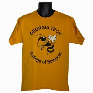 Mens-Hanes-Georgia-Tech-College-of-Sciences-Yellow-Graphic-T-Shirt-Size-M-Medium