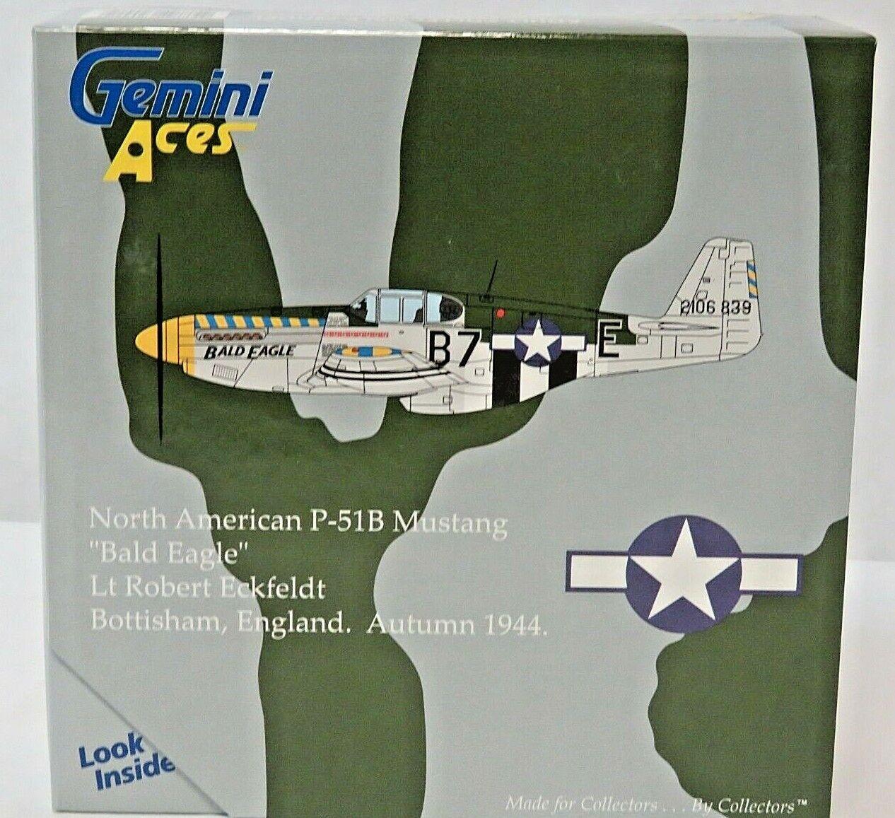 RARE 06 Gemini Aces North American P-51B Mustang GAUSA2001 1944 Bald Eagle 1 72